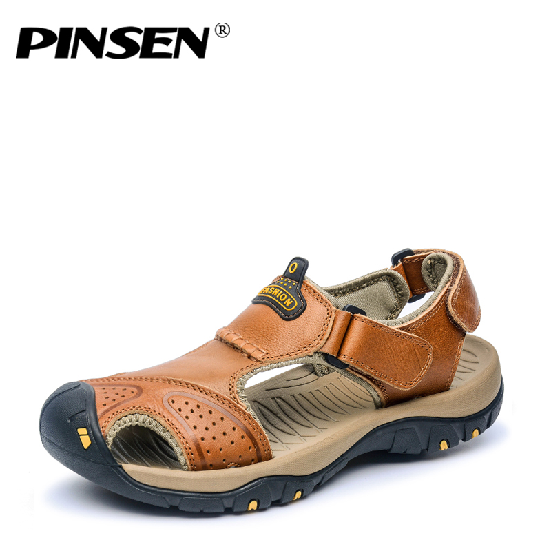 PINSEN Brand Genuine Leather Summer Soft Male Sandals Shoes For Men Breathable Light Beach Casual Quality Walking Sandal 2018
