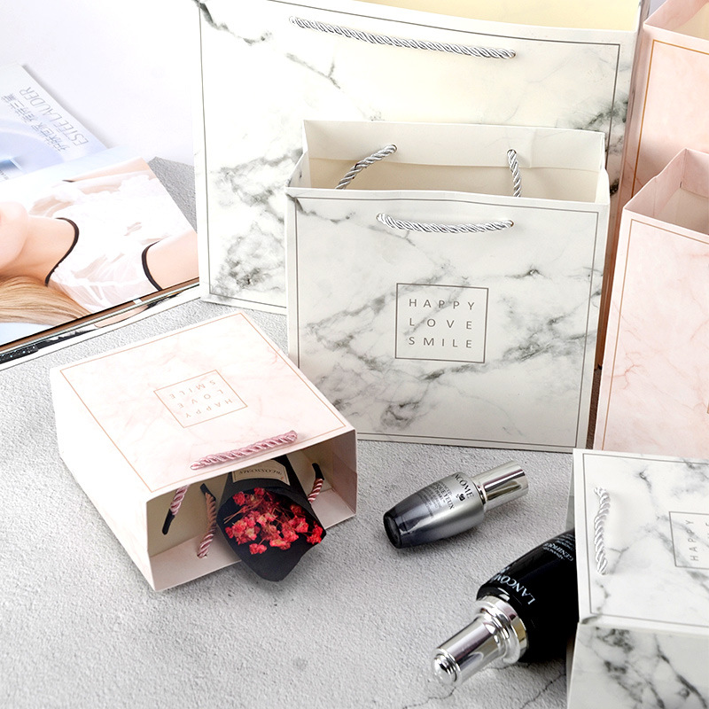 1pc Marble Paper Gift Bags Garment Holiday Gifts Portable Shopping Bag Business Packing Wedding Party Decoration Customizable