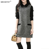 2017 Spring And Autumn Fashion New Women Knitted Long Sleeve Mini Dress Casual Loose Woolen Sweater