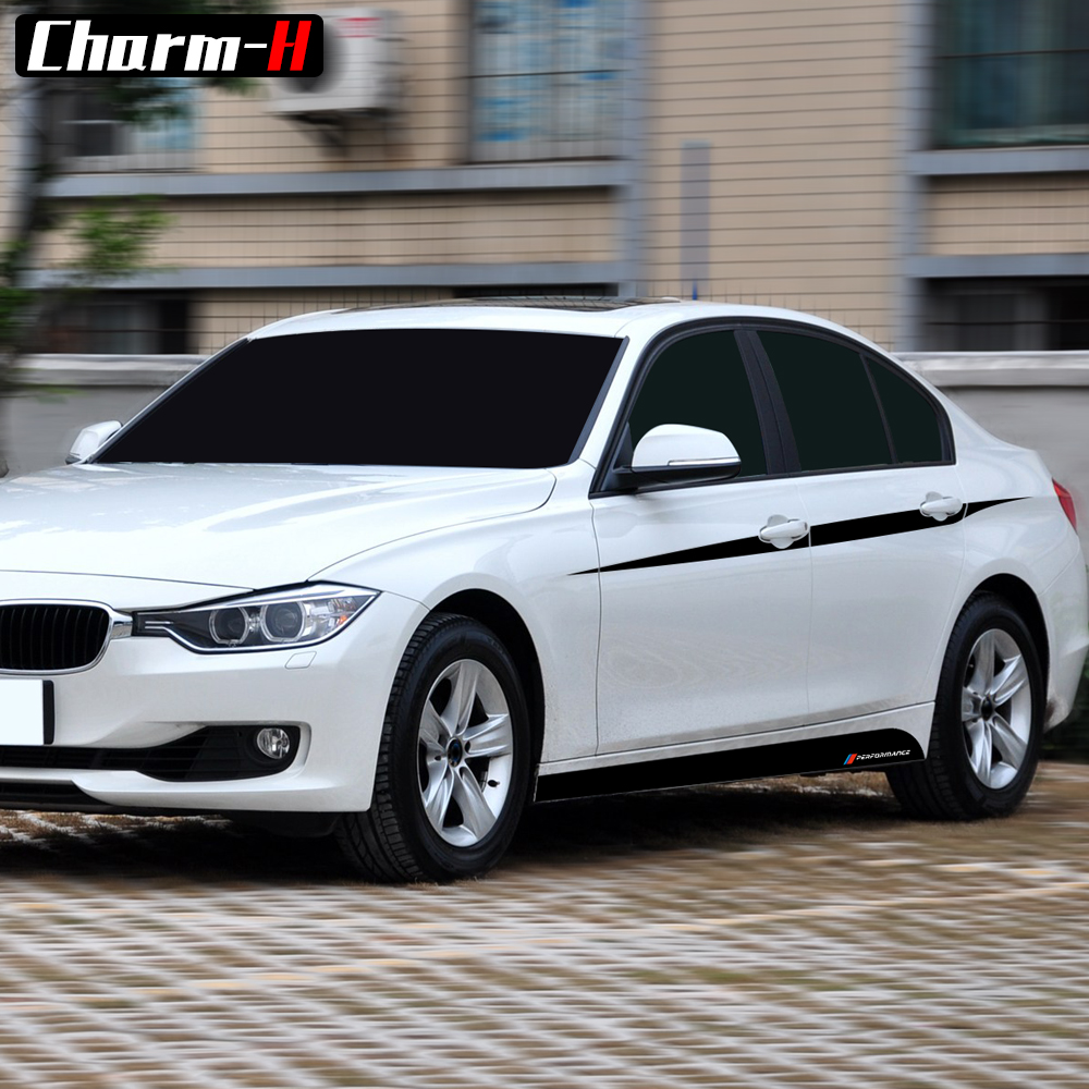 Car Styling M Performance Accent Side Stripes Decals Film Vinyl Side Skirt Waistline Stickers for BMW F30 F31 3 Series Sport in Car Stickers from Automobiles Motorcycles