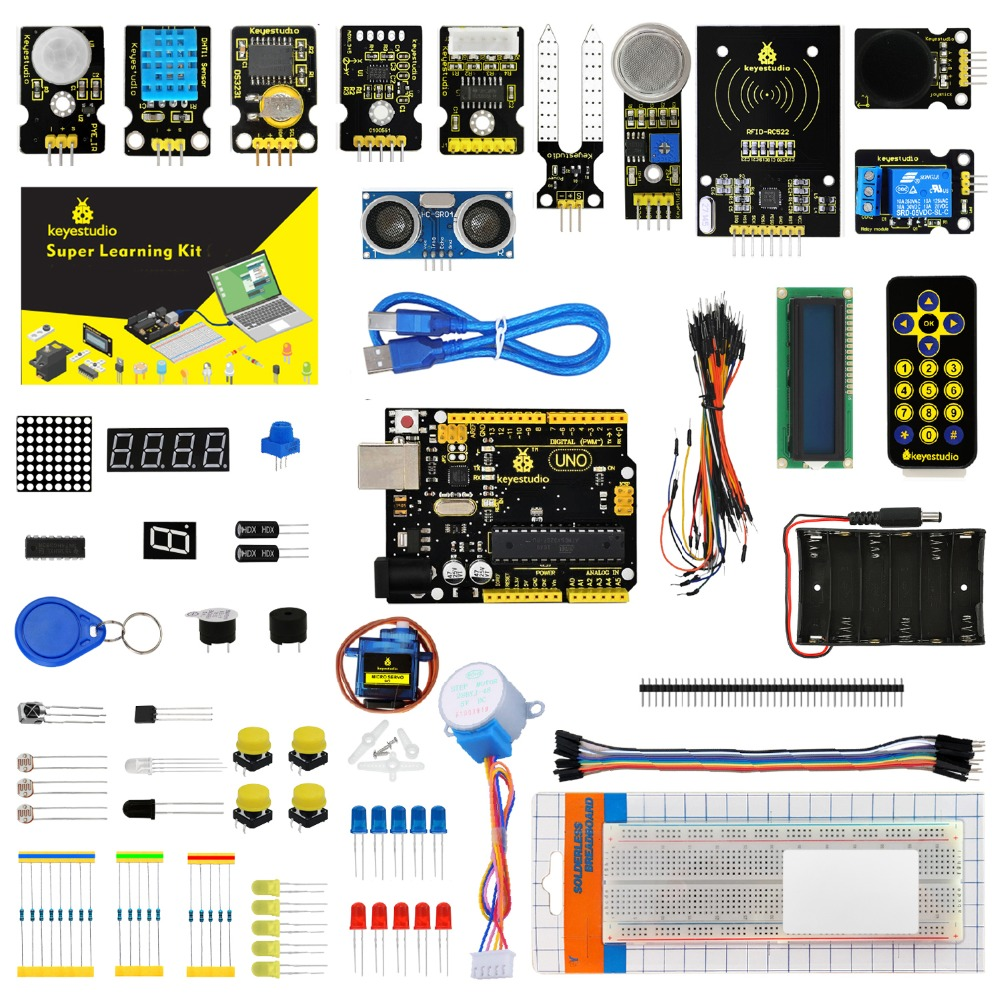 Keyestudio Super Starter kit/Learning  Kit(UNO R3) for STEM  Education with 32 Projects +User Manual+ RFID 1602+PDF(online) roll up button front denim overalls