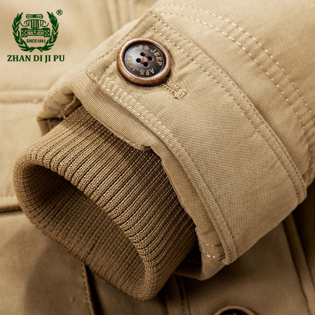 6d2ae881e039 2018 Men s winter thicken warm hooded casual brand army green jacket coat  man cotton afs jeep
