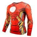 2016 de Super-heróis Homem De Ferro Manga Longa de Impressão 3D T Camisa do Exercício Da Aptidão Homens Camisa Skintight Top Shirt Da Bicicleta Jersey