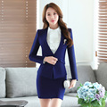 2016 New Autumn fashion women skirt suits blazer & skirt Women Business Suits office coat Jacket plus size 4XL 2 piece sets