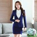 2016 Otoño Nueva moda mujeres juegos de falda blazer y falda de Las Mujeres Trajes de negocios oficina Jacket coat plus tamaño 4XL 2 unidades conjuntos