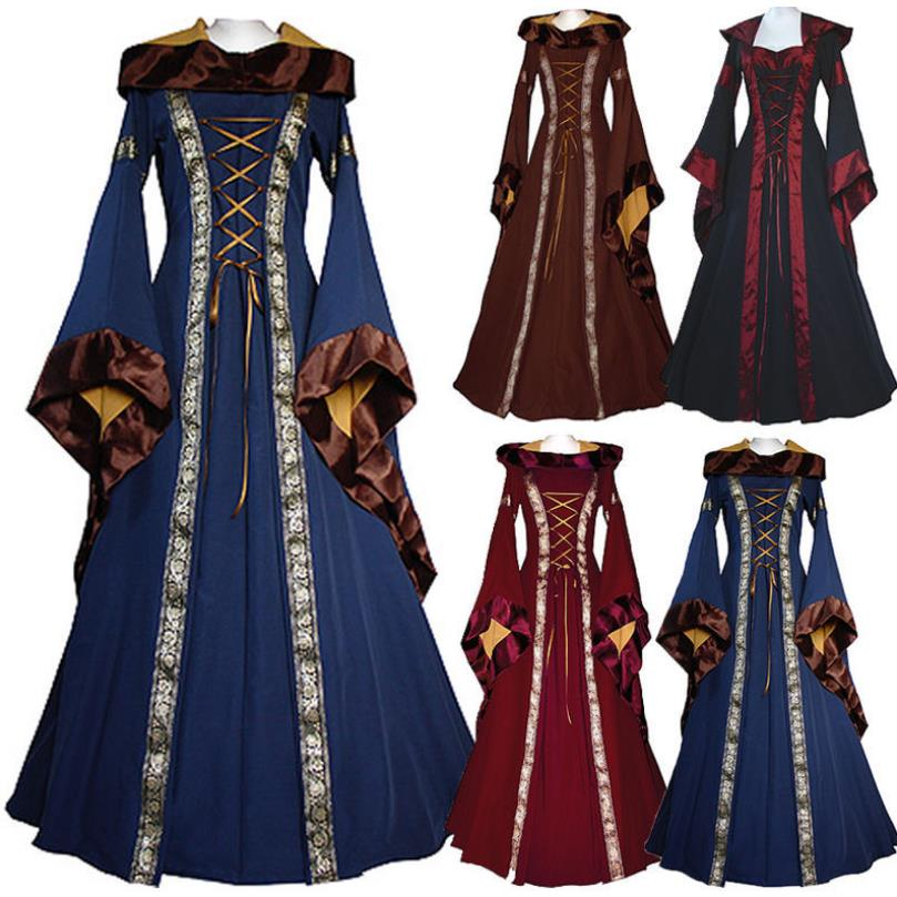 Game of Thrones Women Victorian Medieval Dress Gothic Long Dress Costume Hooded