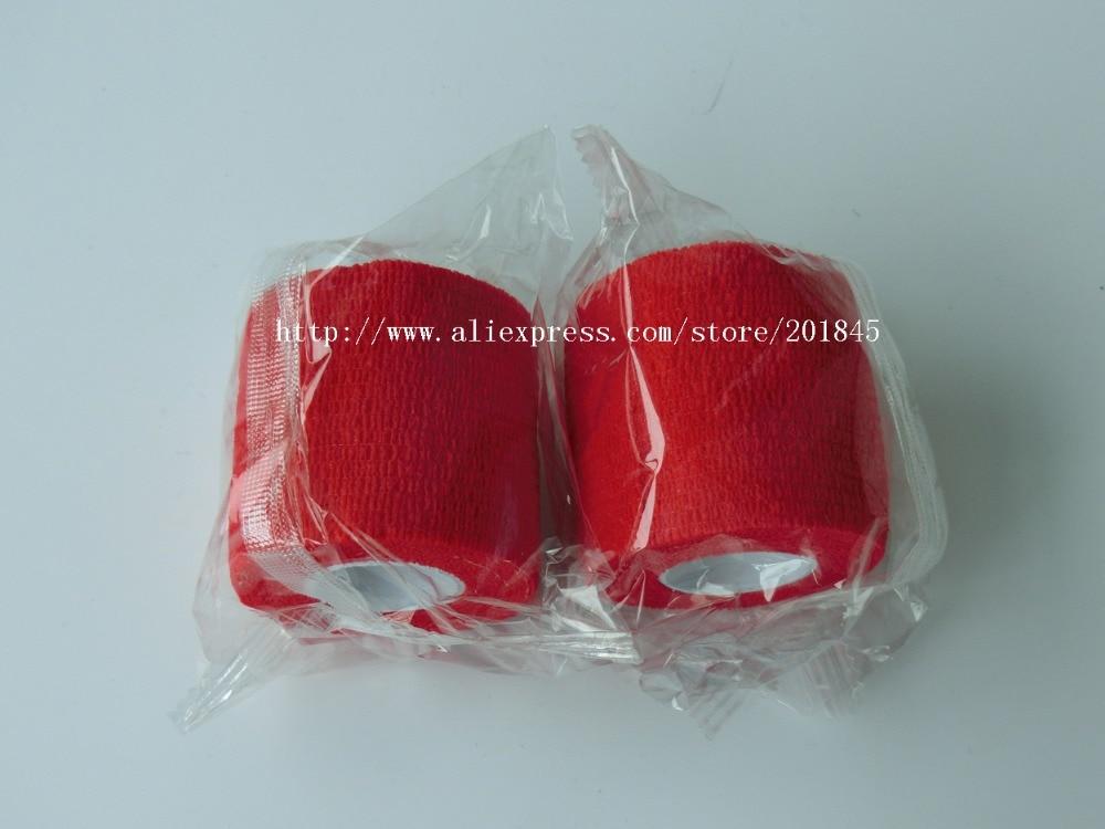 48Pcs/Lot  Non woven Self Adhesive Cohesive Bandage elastic gauze 5cm*4.5m Red