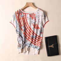 New women s clothing in Europe and the wind round collar F12098 rotator cuff signs printed silk T shirt