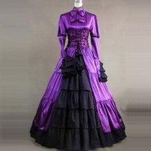 2018 lila Retro Gothic Viktorianischen Party Kleid Kostüm 18th Century  Lange Flare Hülse Bogen Bühne Zeitraum Ball Kleider für F.. a4449bb423