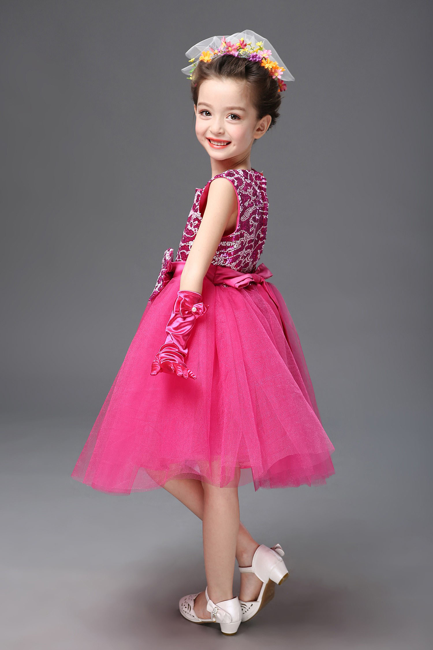 dance formal shoes sizes 4,5,6,7,8,9,10 Girls//infant dark pink sparkly party