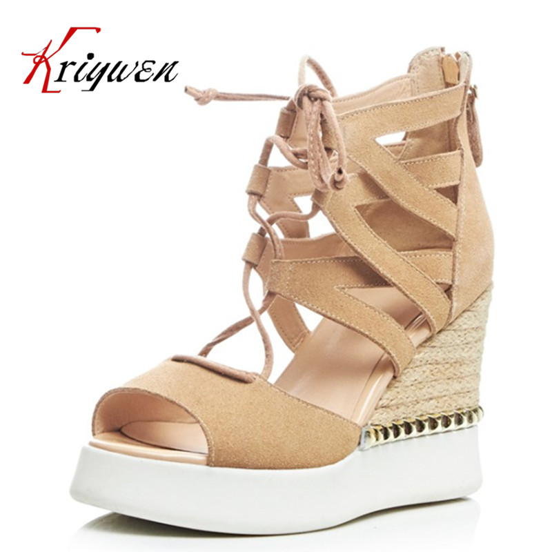 ФОТО 2016 summer cross strap Ultra 10cm high heels sandals cow suede Brand Women retro female shoes rivets Rome Party wedges Shoes
