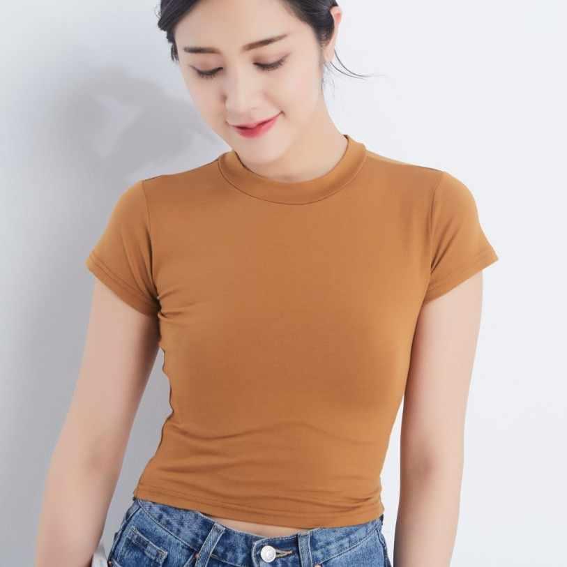 2019 夏の作物は女性 Tシャツカジュアル O-ネック Tシャツ女性の Tシャツ半袖スリム tシャツ