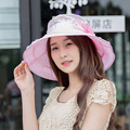 New Summer Fashion Women Floral Lace Travel Beach Sun Hats 6 Colors Freeshipping C1