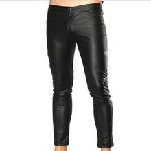 Mens Patent Leather Pants Skinny Sexy Wetlook Night Club Legging High Elastic Slim Tight Gay Male Trousers Low waist Black