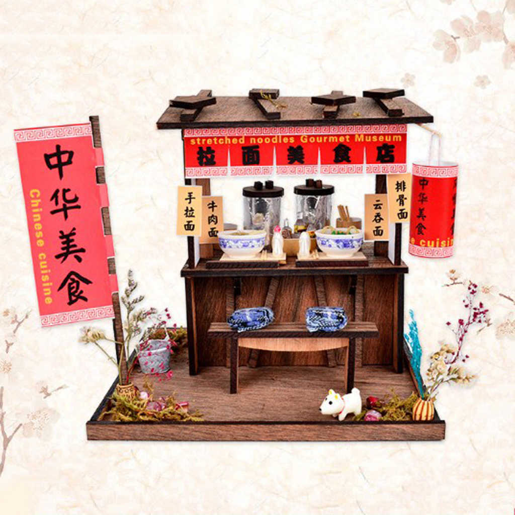 Tự Làm Thủ Công Thu Nhỏ Dự Án Búp Bê Gỗ Nhà Cổ Handpulled Mì Shop Có Đèn Led Nội Thất Trang Trí Nhà