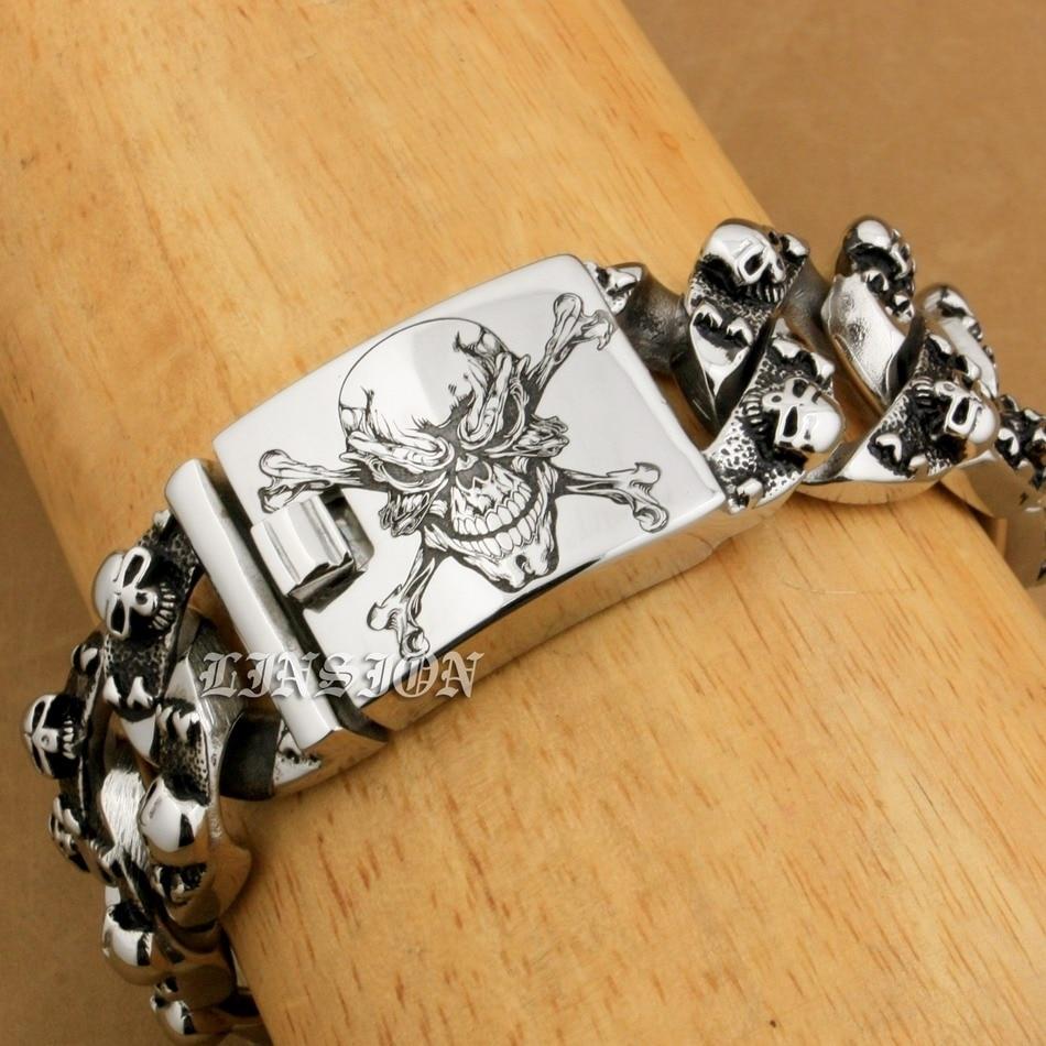 Image 2 - LINSION Huge Heavy 316L Stainless Steel Deep Laser Engraved  Pirate Skull Bracelet Mens Biker Punk Curb Link Chain 5F104curb link  braceletlink braceletbracelet bracelet