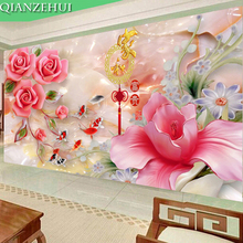 QIANZEHUI,Needlework,DIY Peacock The rich rose lily is rich in nine fish Cross stitch,Sets For Embroidery kits Cross Stitch