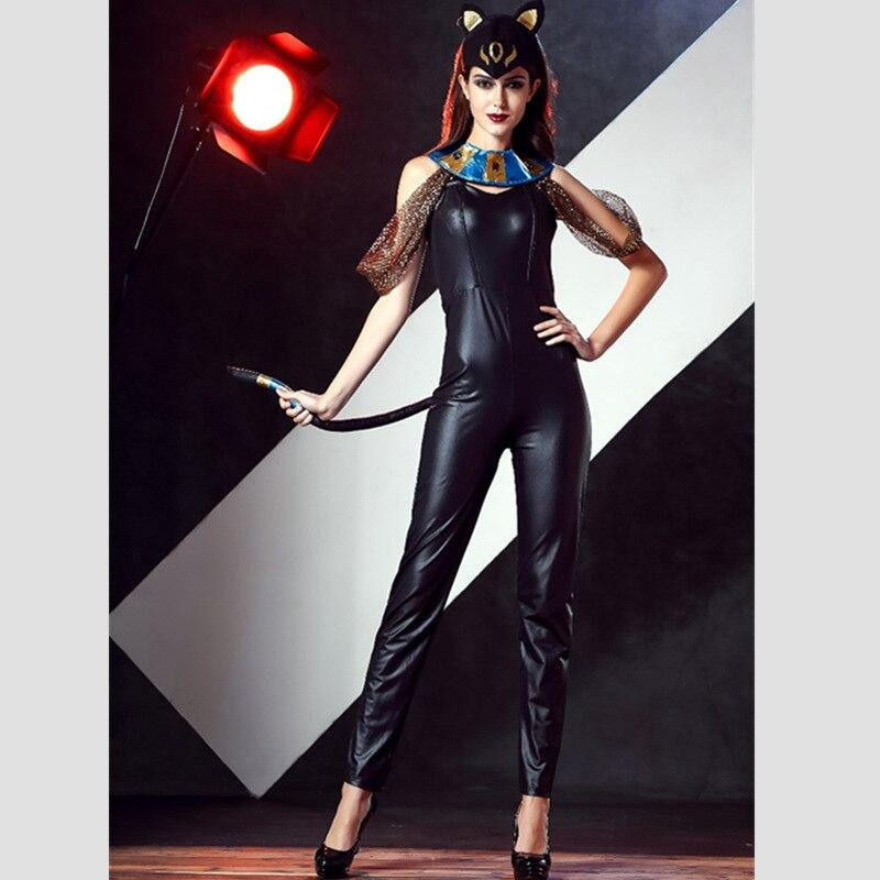 c88ba832a5f Más nuevo de Halloween Masquerade Cosplay DS traje negro vestido del club  ds chica gato Monos ropa de fiesta sexy para adultos