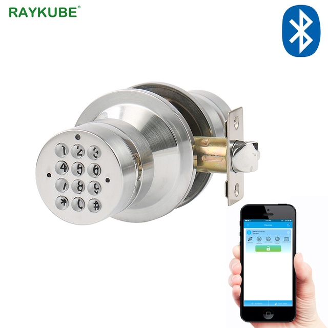 RAYKUBE Knob Electronic Door Lock With Bluetooth Digital Code Door Lock APP Password Keyless Opeing Enter Home