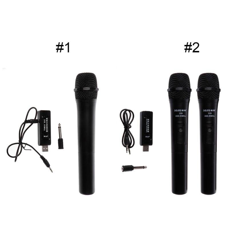 UHF USB 3.5mm 6.35mm Wireless Microphone Megaphone Handheld Mic With Receiver For Karaoke Speech Loudspeaker