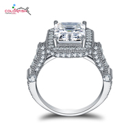 COLORFISH Luxury Simulated Diamond Ring 925 Sterling Silver Square Cut 2 5 Ct Rings Hand Forge
