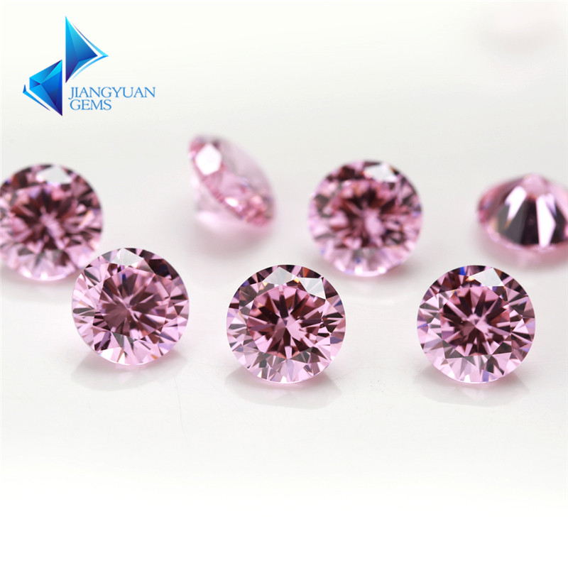 1000pcs 0.8~4mm 5A CZ Stone Pink Round Cubic Zirconia Gems Stone Loose Synthetic Gemstone