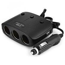 3 Ways Car Auto Cigarette Lighter Sockets Splitter Power Adapter Dual USB Charger For font b