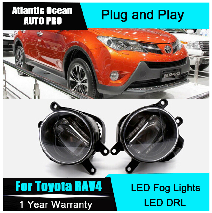 Auto Pro Car Styling LED fog lamps For Toyota RAV4 led DRL with lens 2009-2015 For Toyota RAV4 LED fog lights+led DRL parking for renault megane 2 saloon lm0 lm1 2003 2015 car styling 6000k white 10w ccc high power led fog lamps drl lights