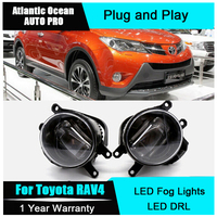 Auto Pro Car Styling LED fog lamps For Toyota RAV4 led DRL with lens 2009 2015 For Toyota RAV4 LED fog lights+led DRL parking