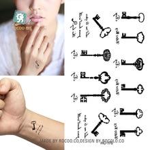 Body Art Waterproof Temporary Tattoos For Men And Women Sex Simple Black Key Design Small Tattoo Sticker HC1170