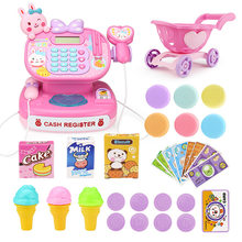 Lovely Children Pretend & Play Toys Simulation Supermarket Cash Register Kits with Shopping Trolley Toys For kids(China)