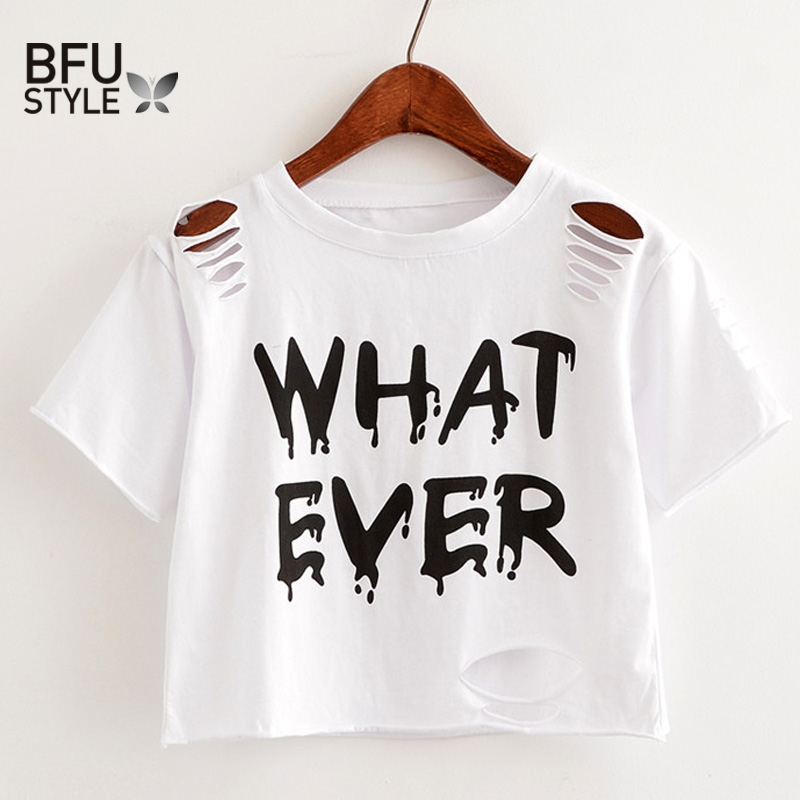 2029f8409960 WHATEVER Letter Print Short T Shirt Women Crop Top Holes T Shirt Casual  Gray Tees Ladies Black Cute Streetwear Tops Camisetas-in T-Shirts from  Women's ...