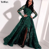 Dubai Design Green Long Sleeve Evening Dresses 2018 Luxury Sparkle Handmade Flowers Crystal Evening Gowns formal dress YeWen