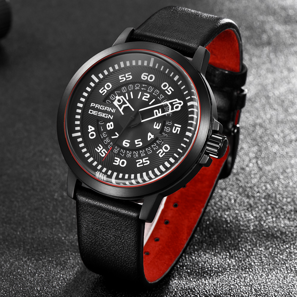 PAGANI Design Watches For Men Luxury Brand Leather Strap New Dials Design Rotation Calendar Watch With Military Quartz Watch