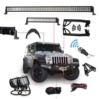 Led Work Headlight Bar 3 22 52'' Daytime Running Driving 24W 120W 300W Bars Mount Bracket Bull Holder for Jeep Wrangler JK 12V