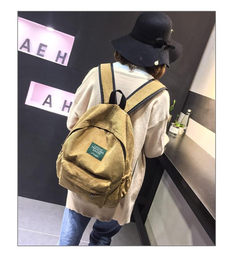 HTB1gAFurDCWBKNjSZFtq6yC3FXaD Women Striped Corduroy Backpack Female Eco Simple Cloth Bag Large Capacity Vintage Travel Bags School Backpack for Teenage Girls