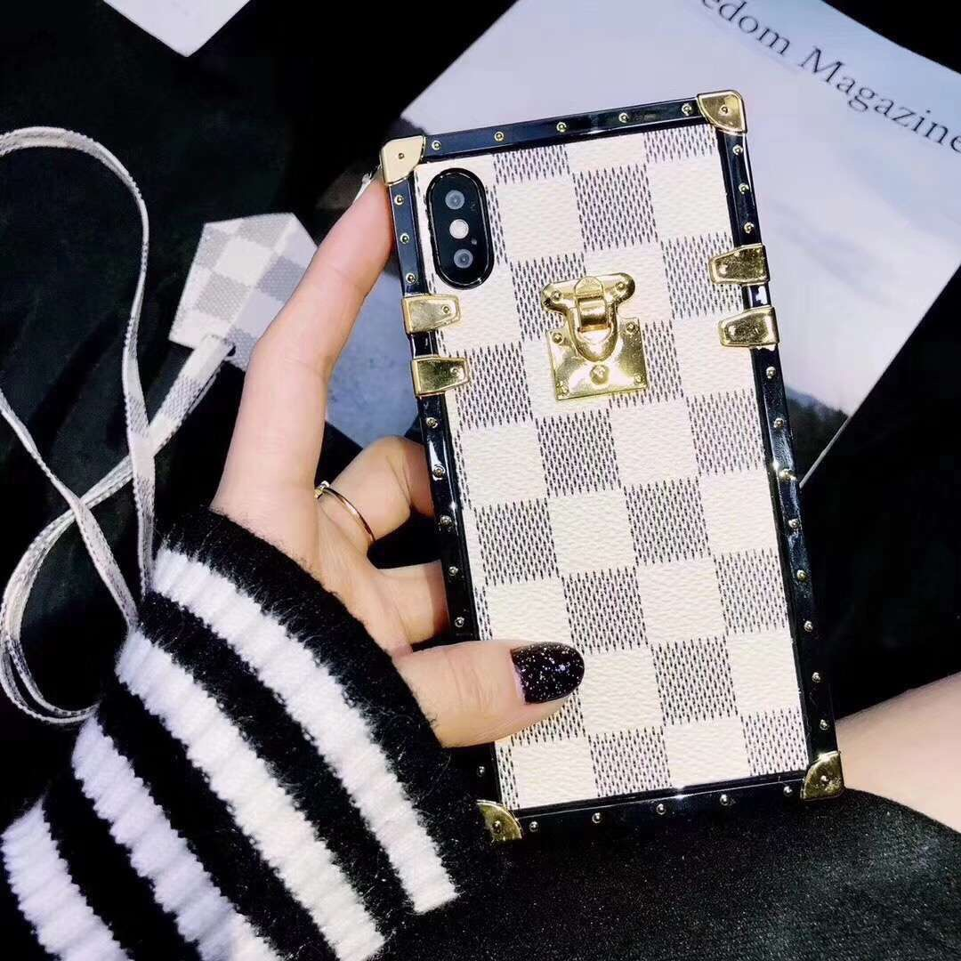 SZYHOME Phone Cases for Iphone X 6 7 8 Plus Vintage Luxury Fashion Classical Square Lattice TPU Silicon Phone Back Cover Case