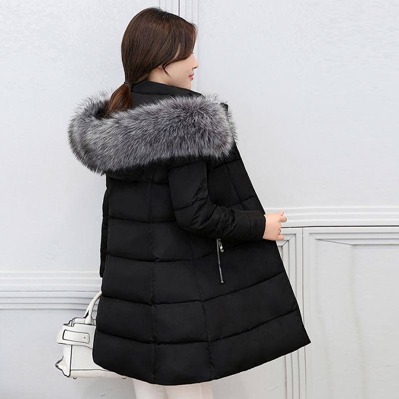 2017 winter long women jackets fur collar hooded female parkas high quality cotton padded solid coat wadded women outwear YP0510