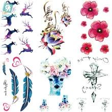 ee9b43a81 Rocooart RC260-284 DIY tatuajes pegatina Color colorido ciervo Rosa  mariposa tatuaje temporal PEGATINAS ARTE DEL CUERPO Flash ta.