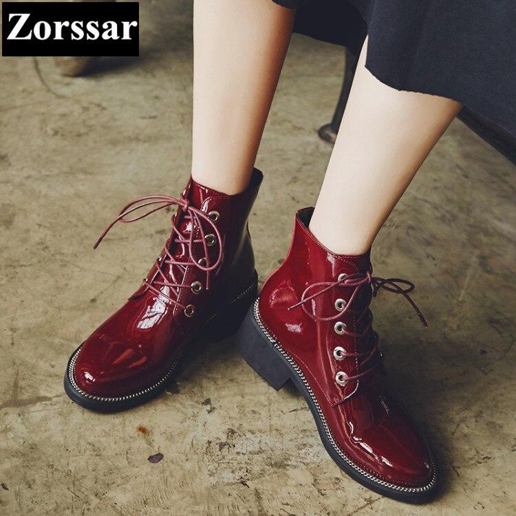 Para Invierno Punta Negro 2017 Botas Tobillo Las De Calidad Alto Cuero Señoras {zorssar} Zapatos rojo Mujer Tacón Martin Alta Charol dq05axUwx