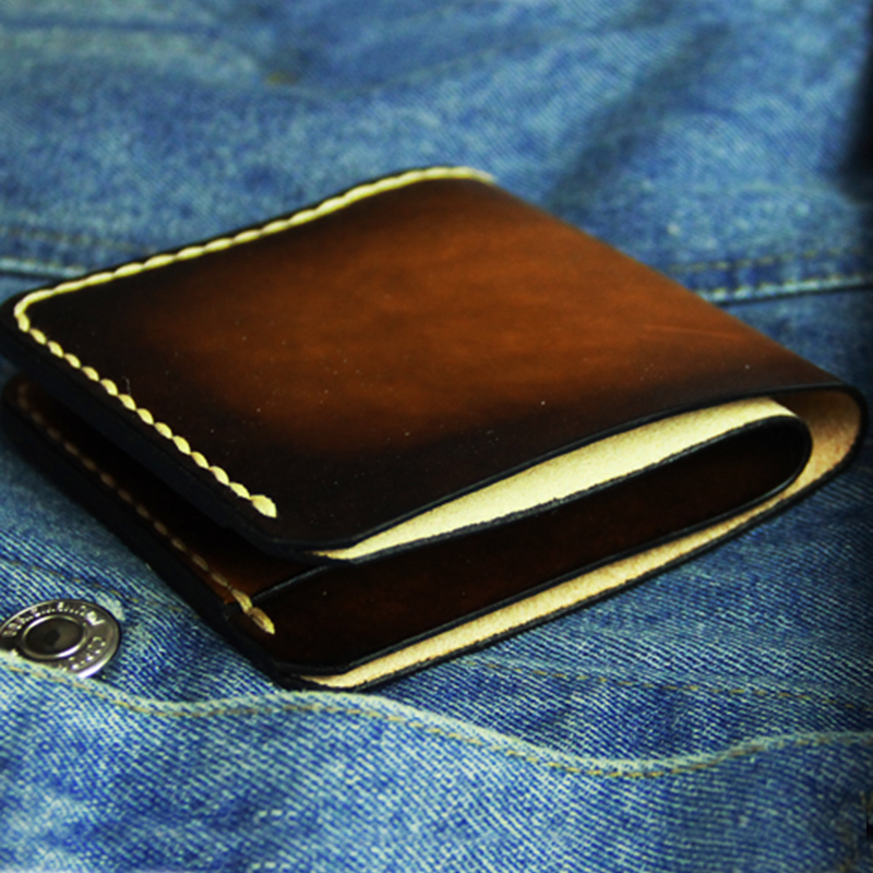 Luxury Totally Hand made Wallet for Men Retro Genuine Leather Short Male Purse with 2 Card
