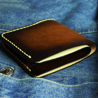 Luxury Totally Hand made Wallet for Men Retro Genuine Leather Short Male Purse with 2 Card Bit Top Layer Cow Leather