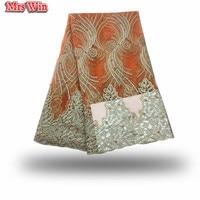 2018 son Şık tasarımları Yüksek Kaliteli Afrika altın iplik dantel Kumaş Nijeryalı turuncu dantel ile boncuk Düğün Için elbise