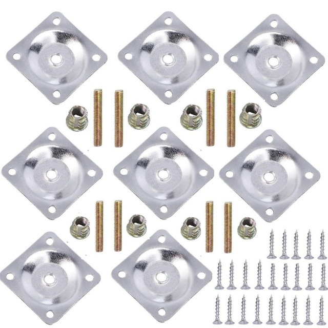8 Sets Furniture Leg Mounting Plates with Hanger Bolts Screws Great for Furniture Sofas Couches Seats