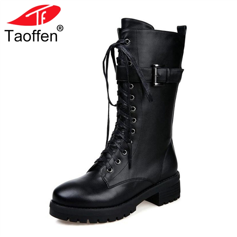 Taoffen Women Flats Boots Genuine Leather Lace Up Buckle Platform Shoes Women Winter Warm Mid Calf Boots Punk Shoes Size 34-39 taoffen women genuine leather flats snow boots women metal buckle mid calf boots warm fur shoes for women footwears size 34 39