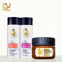 PURC Straightening and Repair Damage Hair Brazilian Keratin Treatment and 5 Seconds Make Hair Soft Magical Treatment Mask 11.11