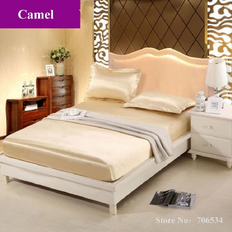 home textile 3 pcs satin silk fitted sheet size bed sheet