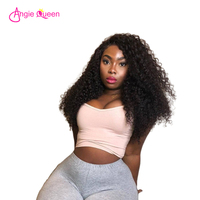 ANGIE QUEEN kinky curly 3pcs hair bundles with closure Brazilian hair bundle with lace closure Remy hair 4*4 closure virgin hair