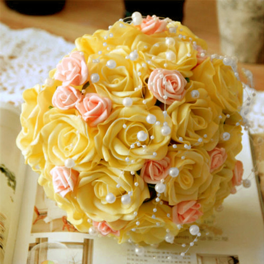 Ivory Acrylic Pearl Spool String Rose Garland Beads Wedding Bridal Bouquet Decor