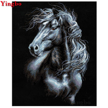 Wall sticker Diamond Painting animal horse DIY Embroidery black 5D Full Square Mosaic diamond Picture by Numbers